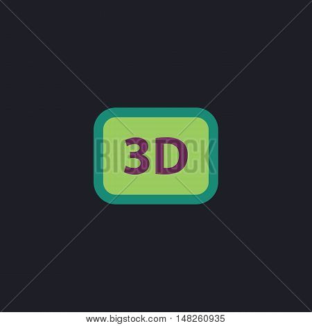 3D Color vector icon on dark background