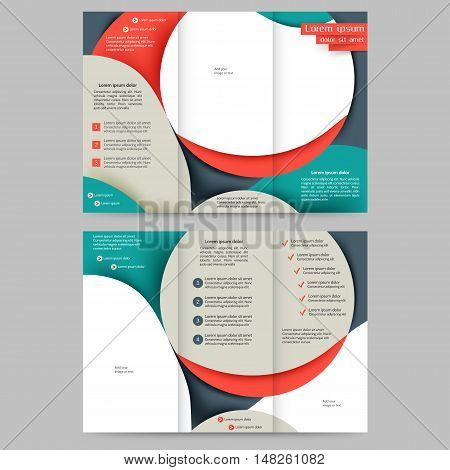 Tri fold  brochure design  with abstract lines and waves