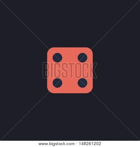 Dice Cube Color vector icon on dark background