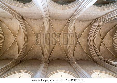 Copenhagen, Denmark - April 11, 2016: The high ceiling inside Grundvig Church