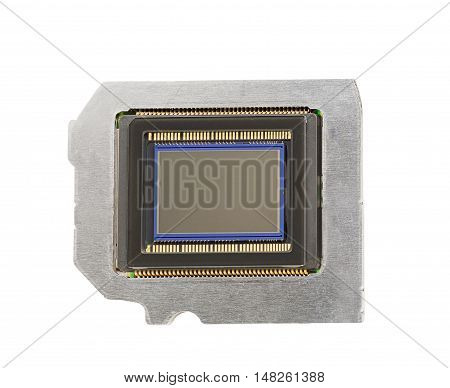 photo sensor on a metal plate with a white background front