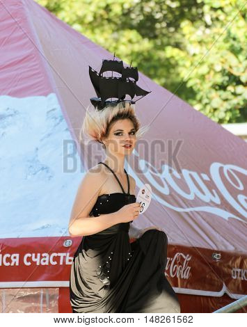 St. Petersburg, Russia - 12 August, Model climbing scene,12 August, 2016. Beauty contest