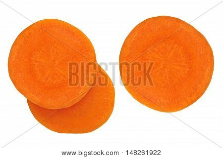 Juicy slices of carrot isolated on white background.