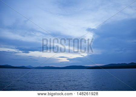 Evening on the lake Zyuratkul. Ural landscape