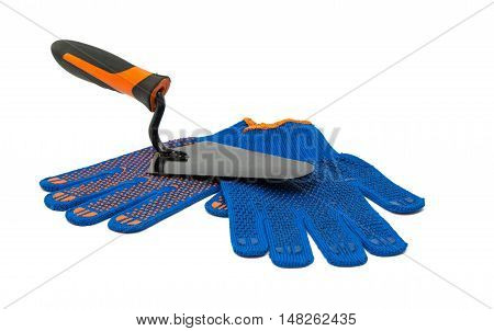 work gloves with trowel isolated on a white background
