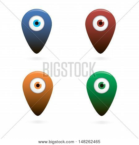 Vector illustration of the eye mark on the map.