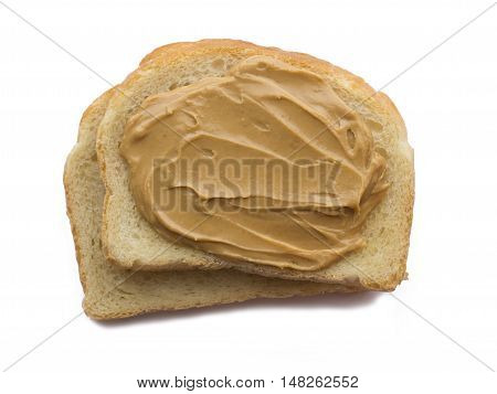 Peanut butter sandwich on each other isolated
