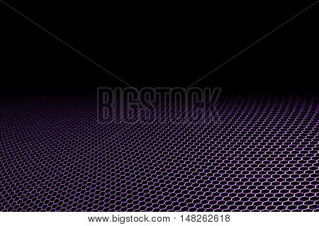 purple curve metallic mesh on black background. monochrome color. for web or printing background design. 3d illustration.