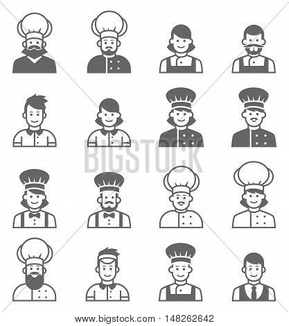 People occupations icons. Cook avatar profile. Vector cooks, cooks uniform, cooks chefs, chefs isolated, cook people. Professions job