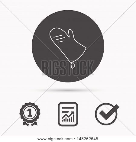Potholder icon. Kitchen protection glove sign. Report document, winner award and tick. Round circle button with icon. Vector