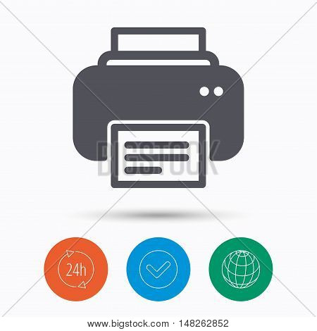 Printer icon. Print documents technology symbol. Check tick, 24 hours service and internet globe. Linear icons on white background. Vector