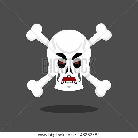 Angry Skull Emotion. Crossbones. Aggressive Skeleton Head