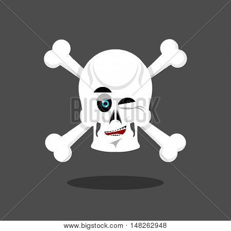 Laughing Skull Winks Emotion. Crossbones. Cheerful Skeleton Head
