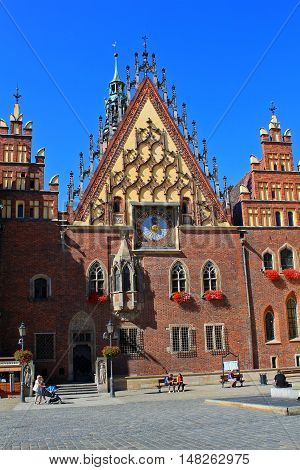 WROCLAW POLAND - September12 2016: Historical City hall. Wroclaw is the capital of Lower Silesia