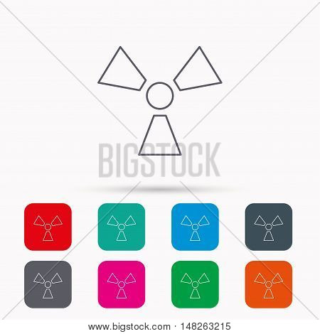 Radiation icon. Radiology sign. Linear icons in squares on white background. Flat web symbols. Vector