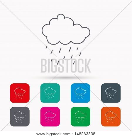 Rain icon. Water drops and cloud sign. Rainy overcast day symbol. Linear icons in squares on white background. Flat web symbols. Vector
