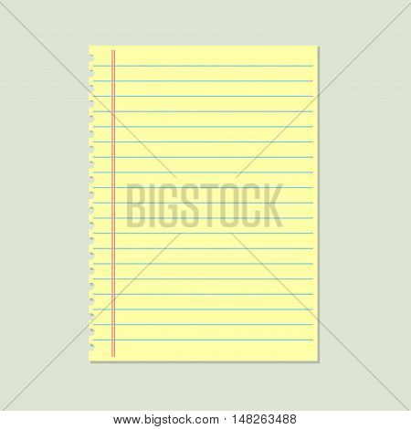 Yellow lined paper. School notebook paper.  Vector illustration