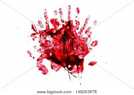 set 8. blood drop and hand print on isolated white background for horror content.