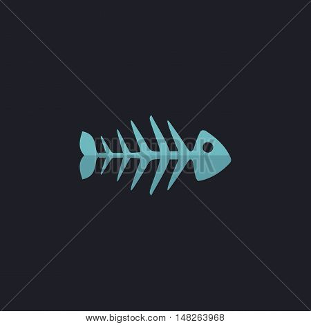 Fish skeleton Color vector icon on dark background