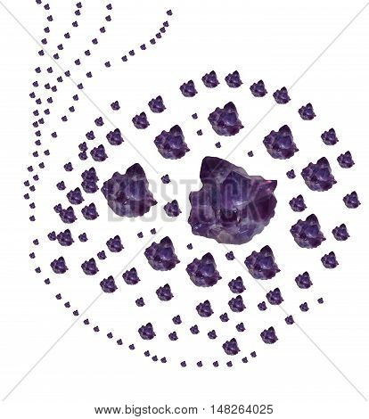 Different dimensions purple amethyst on a white background