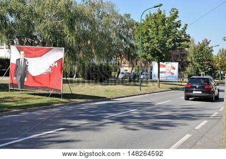 Breitenbrunn, Burgenland, Austria - September 1, 2016: Billboards of Van der Bellen and Norbert Hofer, two Austrian presidential candidates