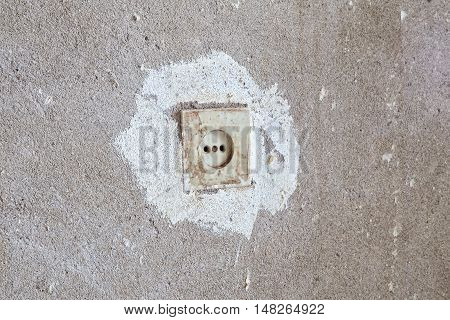 Electrical outlet in the wall during overhaul