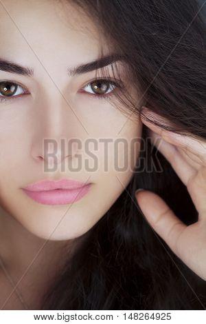 natural look woman beauty without makeup closeup portrait