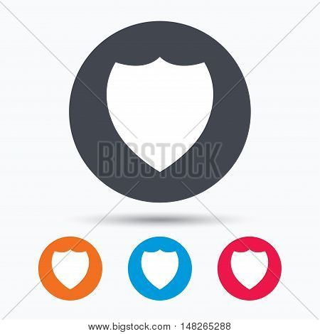 Shield protection icon. Defense equipment symbol. Colored circle buttons with flat web icon. Vector