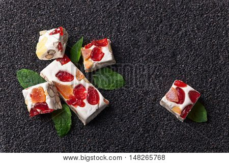 Nougat With Tropical Fruit And Peppermint Leaves