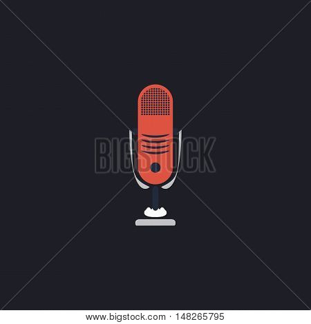 music microphone Color vector icon on dark background