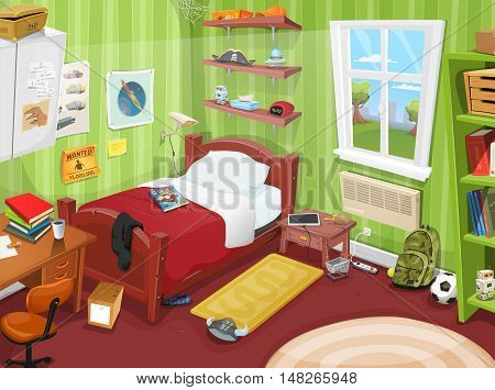 Illustration of a cartoon kid or teenager bedroom with boy or girl lifestyle elements toys bed books desk bookshelf and accessories in mess