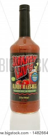 Winneconne WI - 29 July 2016: Bottle of Jimmy luv's bloody mary mix on an isolated background.