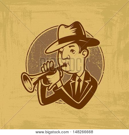 vector emblem with trumpeter in cartoon style