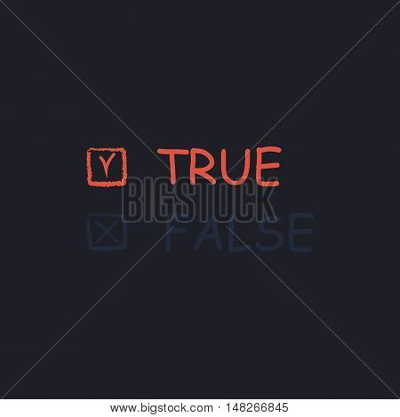 True and False Color vector icon on dark background