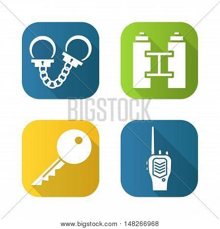 Police flat long shadow icons set. Handcuffs, binoculars, key and radio. Vector symbols.