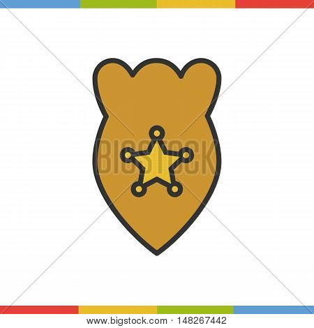 Police badge color icon. Golden star in yellow background. Isolated vector illustration