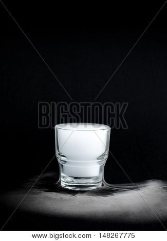 White Smoke Inside Glass At Black Background, Mistery Halloween Concept