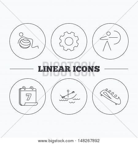 Gymnastics, boating and archery icons. Bobsled linear sign. Flat cogwheel and calendar symbols. Linear icons in circle buttons. Vector