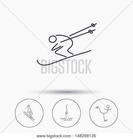 Diving, figure skating and skiing icons. Ski jumping linear sign. Linear icons in circle buttons. Flat web symbols. Vector