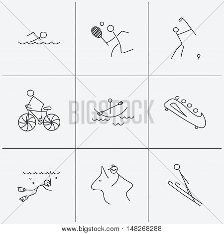 Swimming, tennis and golf icons. Biking, diving and horseback riding linear signs. Ski jumping, boating and bobsleigh icons. Linear icons on white background. Vector