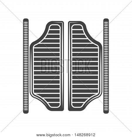 Retro old west saloon doors. Black icon logo element vector illustration isolated on white background