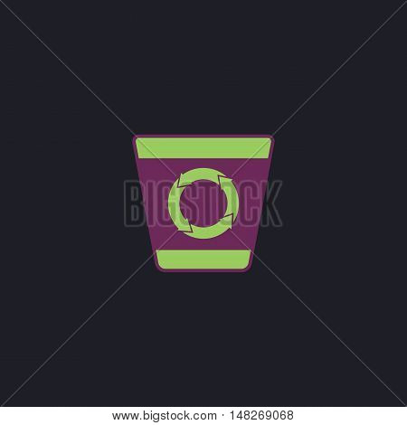 Recycle bin Color vector icon on dark background