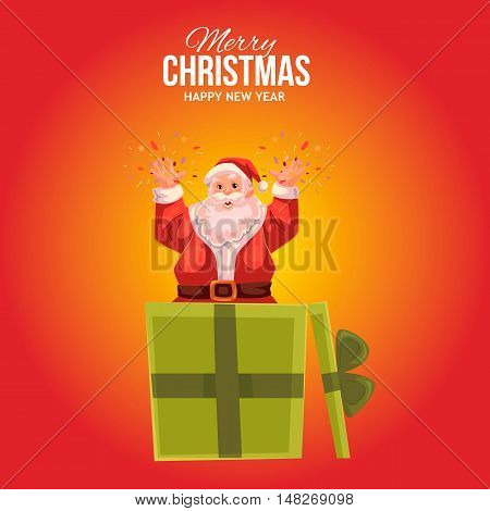 Cartoon style Santa Claus popping out of gift box, Christmas vector greeting card, red background. Full length portrait of Santa popping out of a present box, greeting card template for Christmas eve
