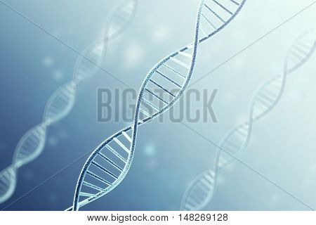 Concetp digital illustration DNA structure on blue. 3d rendering.