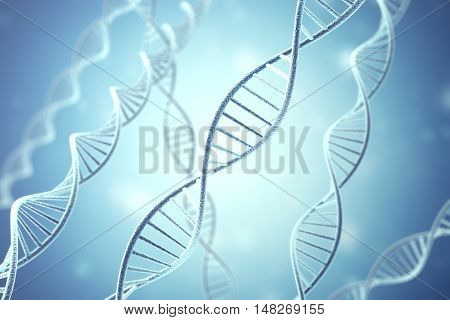 Concetp digital illustration DNA structure in blue. 3d rendering.