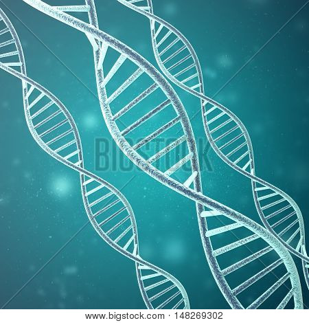 Concept of biochemistry with dna molecule on green. 3d rendering.