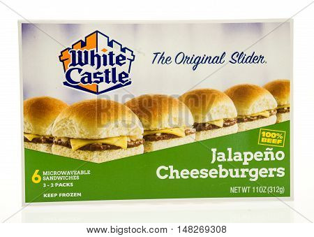 Winneconne WI - 12 August 2016: Box of White Castle jalapeno cheeseburgers on an isolated background.