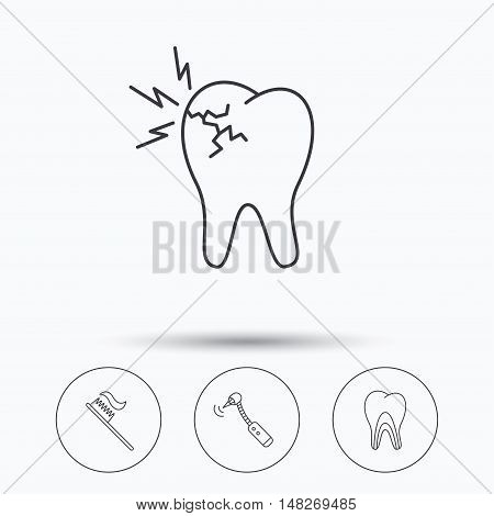 Toothache, drilling tool and toothbrush icons. Dentinal tubules linear sign. Linear icons in circle buttons. Flat web symbols. Vector