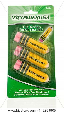 Winneconne WI - 12 August 2016: Package of Ticonderoga eraser's on an isolated background.