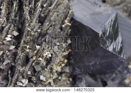Crystals of natural marmatite ,pyrite and pyrrhotite
